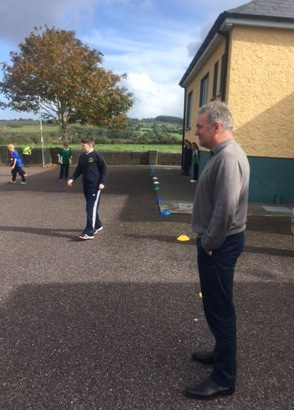 soccer at Togher NS with Ray Houghton