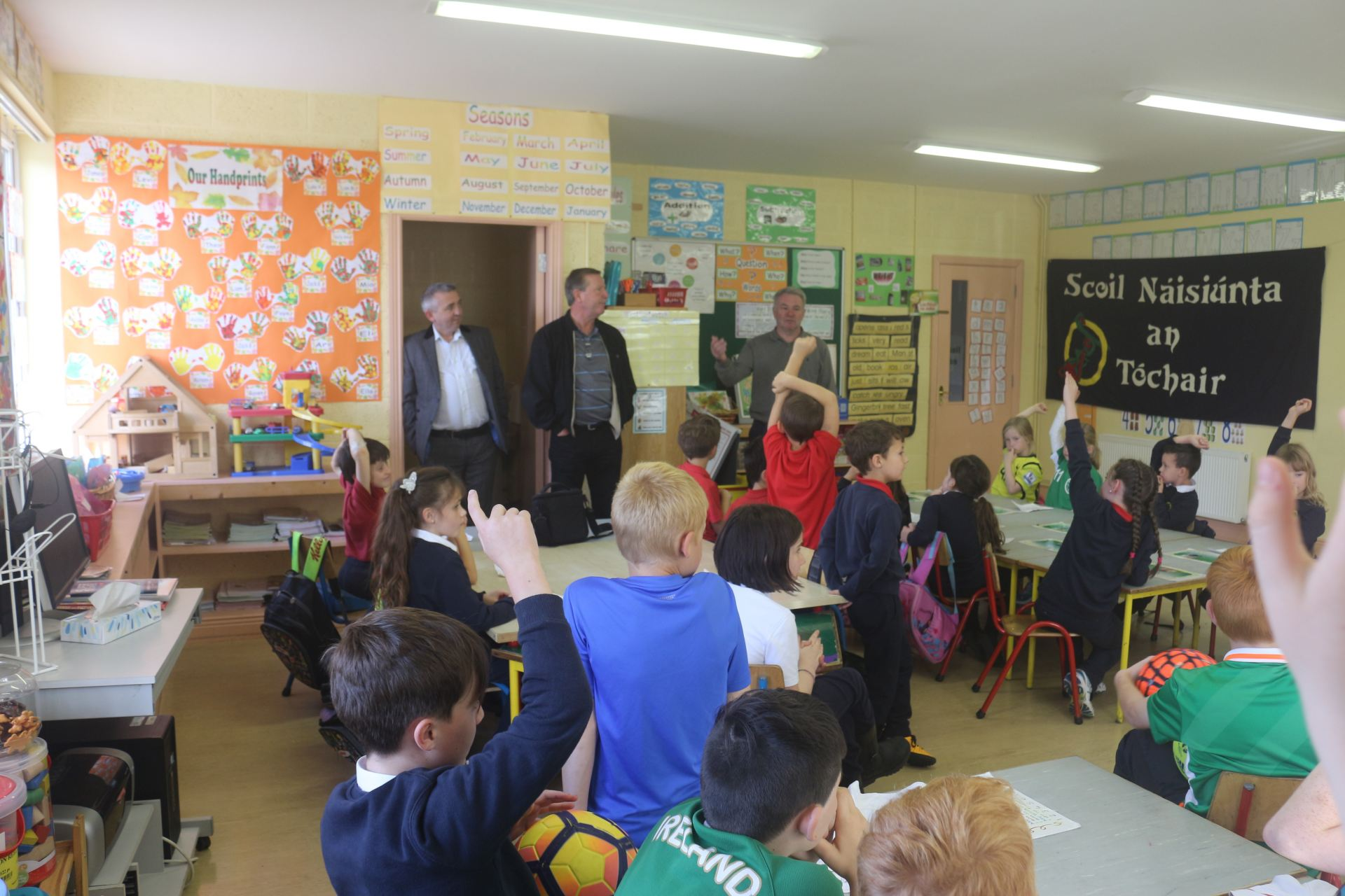 Ray Houghton answers questions at Togher NS